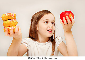 ragazza, cibo, fabbricazione, decisioni, giovane, malsano, betwen, depicts, y, cibo., sano, questo, foto
