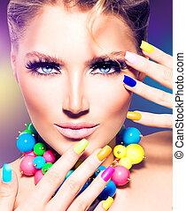 ragazza, colorito, unghia, modello, moda, bellezza