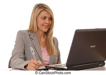 ragazza, computer, tre