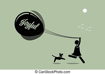 ragazza, correndo, balloon