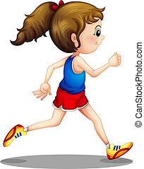 ragazza, correndo, giovane