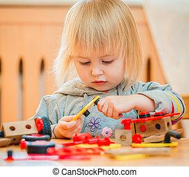 ragazza, costruttore, gioco, carino