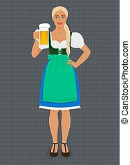 ragazza, costume, tradizionale, bavarese, popolo, birra, dirndl