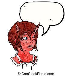 ragazza, diavolo, cartone animato