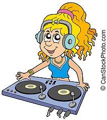 ragazza, dj, cartone animato