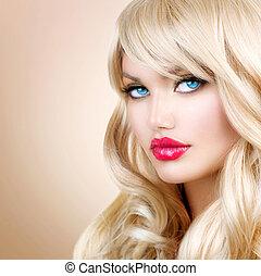 ragazza donna, capelli, portrait., biondo, ondulato, lungo, bello, biondo