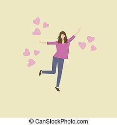 ragazza, donna felice, circondato, volare, love., giovane, woman., romantico, mood., amore, hearts.