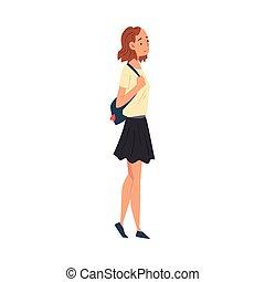ragazza donna, vestiti, camminare, casuale, viaggiante, giovane, vacanza, illustrazione, borsa, vettore, sightseeing