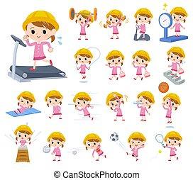ragazza, esercizio, scuola materna