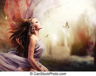 ragazza, fantasia, magico, primavera, giardino, bello, mistico