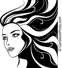 ragazza fascino, nero, capelli