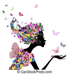 ragazza, fiori, farfalle