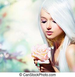 ragazza, flower., fantasia, primavera, rosa, bello