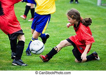 ragazza, football, gioco