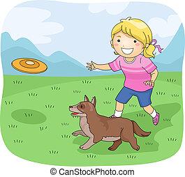 ragazza, frisbee, cane, capretto
