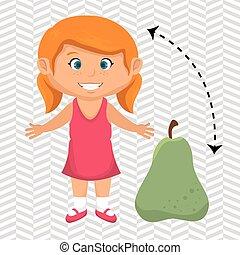 ragazza, frutta, pera, cartone animato