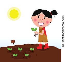 ragazza, giardinaggio, stivali rossi