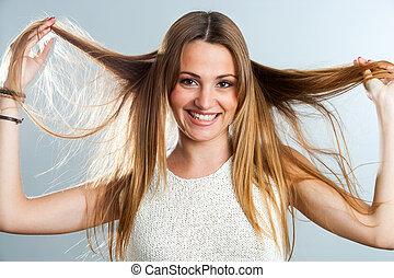 ragazza, gioco, attraente, hair.