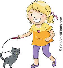 ragazza, gioco, gatto