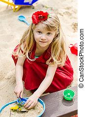 ragazza, gioco, sandpit