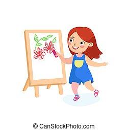 ragazza, giorno, concept., internazionale, felice, infanzia, bambino, o, paper., felicità, vettore, pace, scuola, pittura, cartone animato, carattere, vacanze, easel., bambini, illustrazione, disegno, tela, indietro, fiori