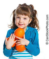 ragazza, giovane, arance