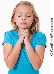 ragazza, giovane, pregare, ritratto