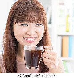 ragazza, godere, caffè, asiatico