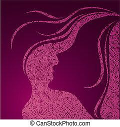 ragazza, grunge, illustrazione, vettore, rosa