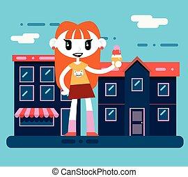 ragazza, icecream, carattere, felice, strada, fondo, illustrazione, hipster, sorridente, città, vettore, disegno, geek, cartone animato, appartamento