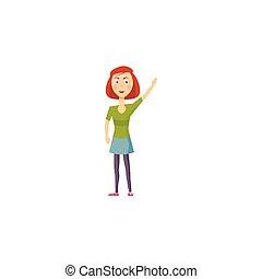 ragazza, icona, stile, cartone animato