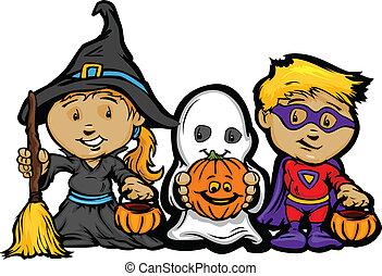ragazza, immagine, halloween, bambini, trucco, vettore, trattare, cricco-o-le lanterne, o, cartone animato, felice