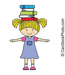ragazza, libri, gioco