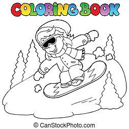ragazza, libro colorante, snowboard