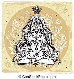 ragazza, meditazione