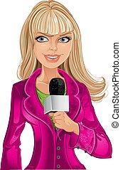 ragazza, microfono, biondo, reporter