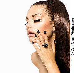 ragazza, moda, bellezza, nero, hair., trendy, manicure, lungo, caviale