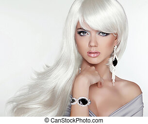 ragazza, moda, bellezza, portrait., hair., biondo, attraente, lungo, bianco
