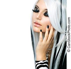 ragazza, moda, bellezza, style., capelli neri, lungo, bianco