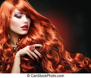 ragazza, moda, hair., ritratto, ondulato, rosso