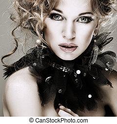 ragazza, moda, hairs., portrait., accessorys., rosso
