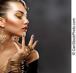 ragazza, moda, makeup., oro, ritratto