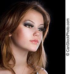 ragazza, moda, makeup., ritratto, lungo, bello, ciglia