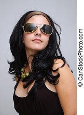 ragazza, moda, occhiali da sole