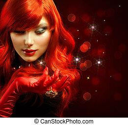 ragazza, moda, portrait., hair., magia, rosso