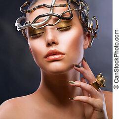 ragazza, moda, portrait., trucco, oro