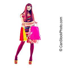 ragazza, moda, shopping, lunghezza, ritratto, pieno
