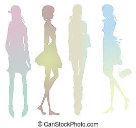 ragazza, moda, silhouette