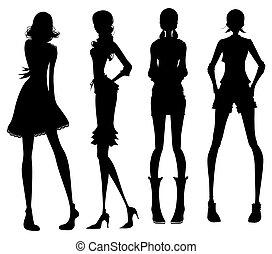 ragazza, moderno, silhouette
