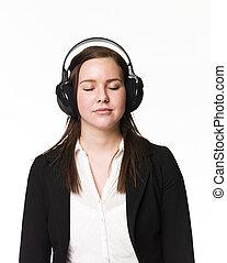 ragazza, musica, ascoltare